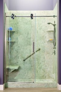 Montebello Bathroom Remodeling San Michele Travetine with Barn Door 4 200x300